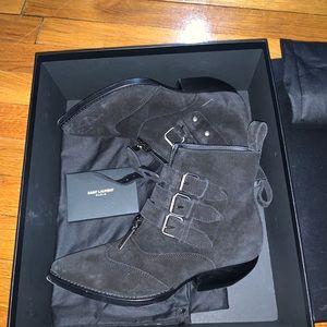 Saint Laurent black suede booties